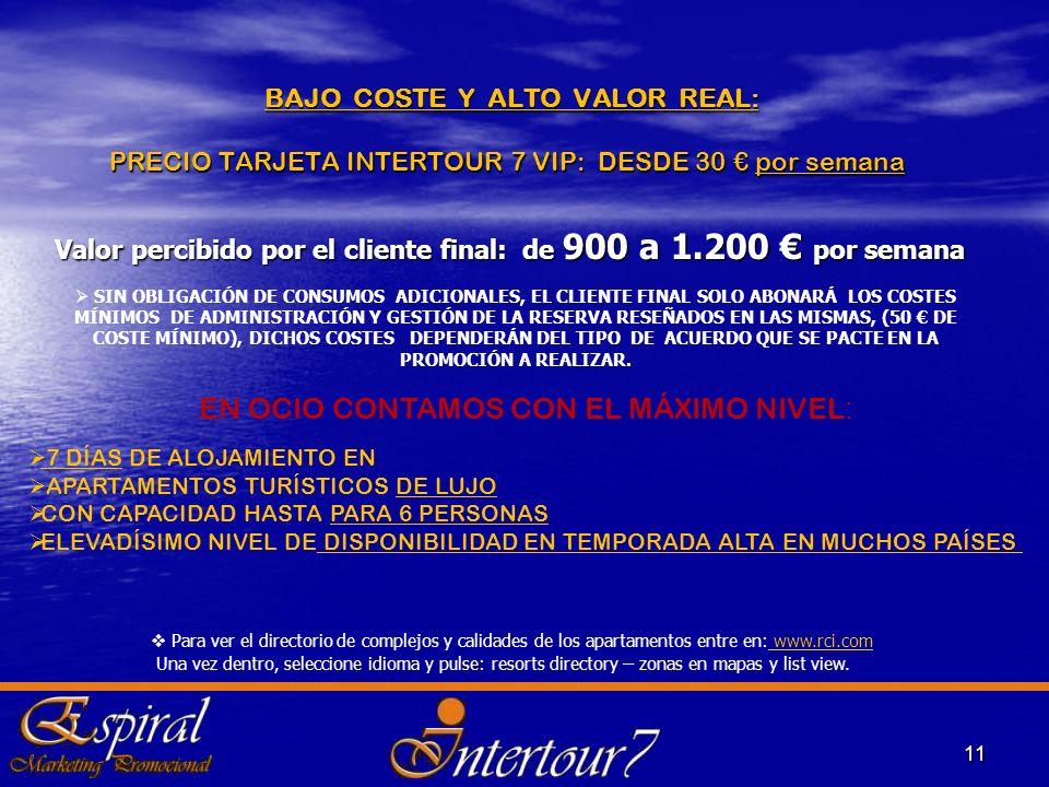 BAJO COSTE Y ALTO VALOR REAL: PRECIO TARJETA INTERTOUR 7 VIP: DESDE 30 por semana BAJO COSTE Y ALTO VALOR REAL: PRECIO TARJETA INTERTOUR 7 VIP: DESDE