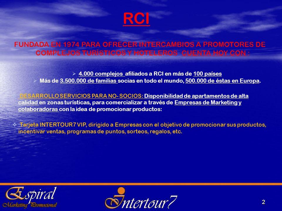 2 FUNDADA EN 1974 PARA OFRECER INTERCAMBIOS A PROMOTORES DE COMPLEJOS TURÍSTICOS Y HOTELEROS CUENTA HOY CON : 4.000 complejos afiliados a RCI en más d