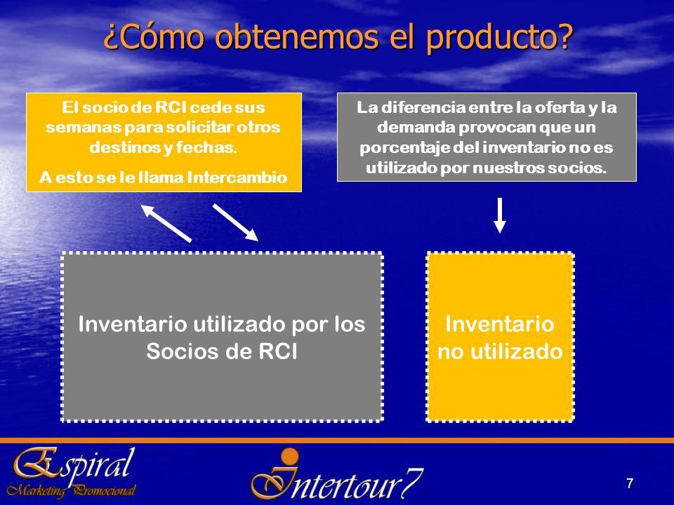 7 ¿Cómo obtenemos el producto? El socio de RCI cede sus semanas para solicitar otros destinos y fechas. A esto se le llama Intercambio La diferencia e