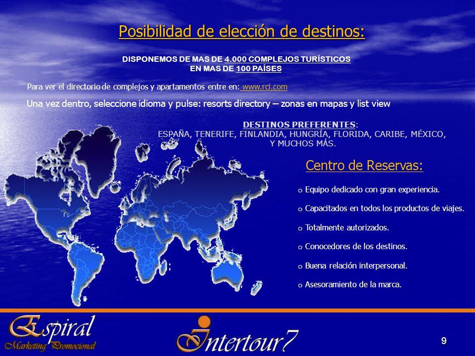 Posibilidad de elección de destinos: 9 DISPONEMOS DE MAS DE 4.000 COMPLEJOS TURÍSTICOS EN MAS DE 100 PAÍSES. DESTINOS PREFERENTES: ESPA Ñ A, TENERIFE,