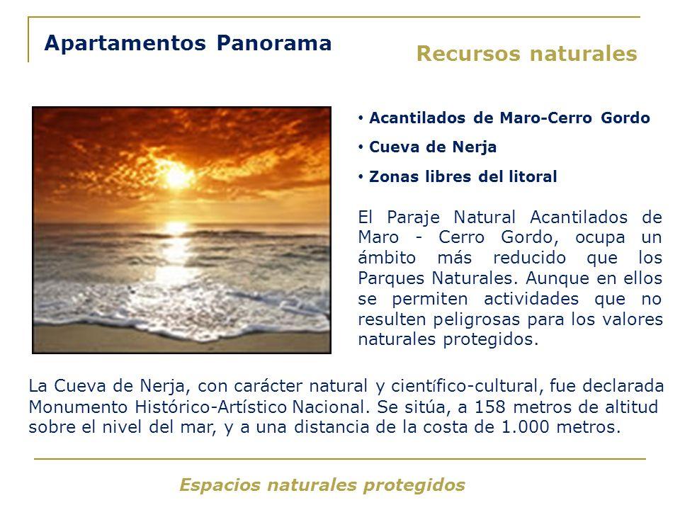Espacios naturales protegidos Apartamentos Panorama Acantilados de Maro-Cerro Gordo Cueva de Nerja Zonas libres del litoral El Paraje Natural Acantilados de Maro - Cerro Gordo, ocupa un ámbito más reducido que los Parques Naturales.