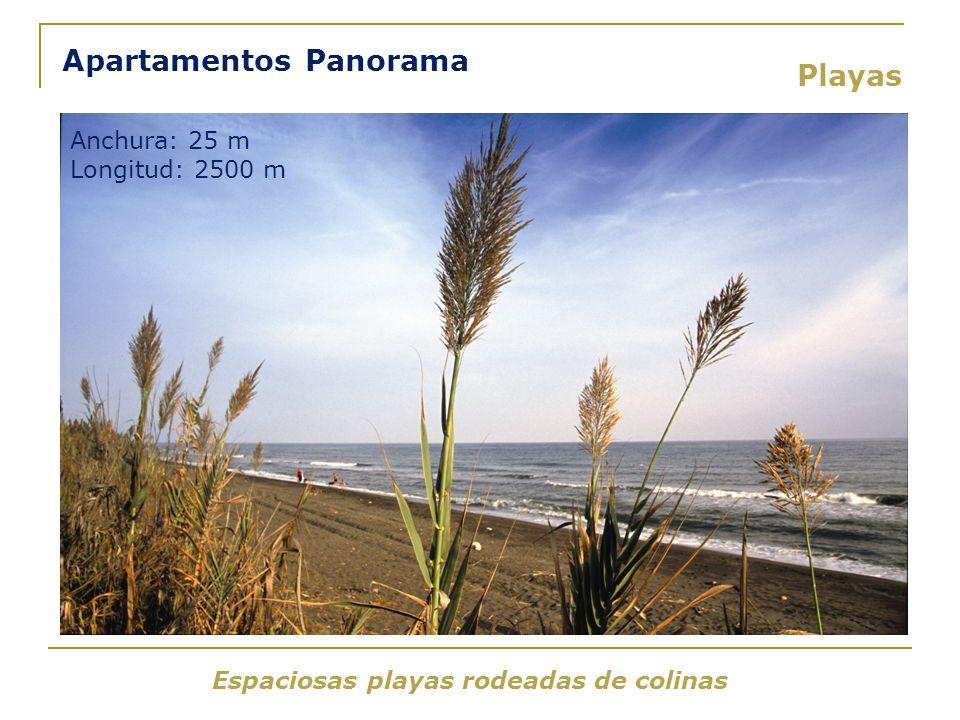 Espaciosas playas rodeadas de colinas Playas Apartamentos Panorama Anchura: 25 m Longitud: 2500 m