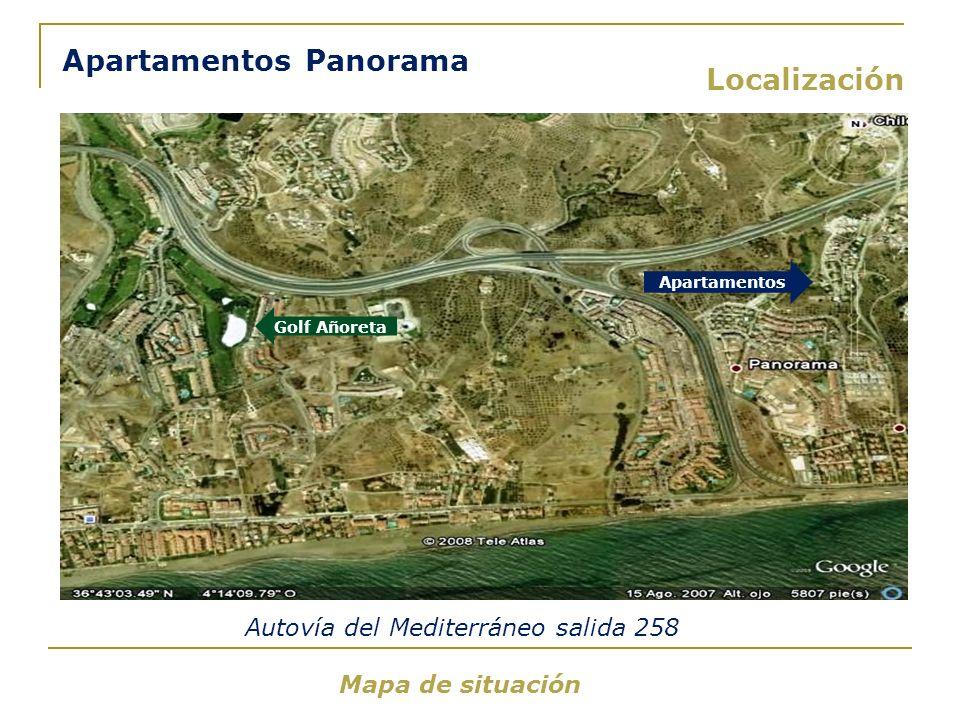 Localización Mapa de situación Apartamentos Panorama Apartamentos Autovía del Mediterráneo salida 258 Golf Añoreta