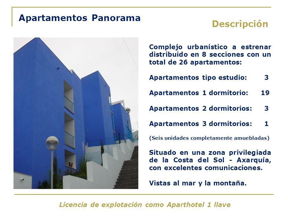 Apartamentos Panorama Descripción Complejo urbanístico a estrenar distribuido en 8 secciones con un total de 26 apartamentos: Apartamentos tipo estudi