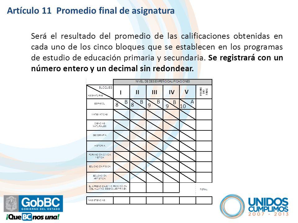 Artículo 11 Promedio final de asignatura Será el resultado del promedio de las calificaciones obtenidas en cada uno de los cinco bloques que se establ