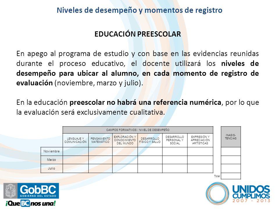 Artículo 7º EDUCACIÓN PREESCOLAR En apego al programa de estudio y con base en las evidencias reunidas durante el proceso educativo, el docente utiliz