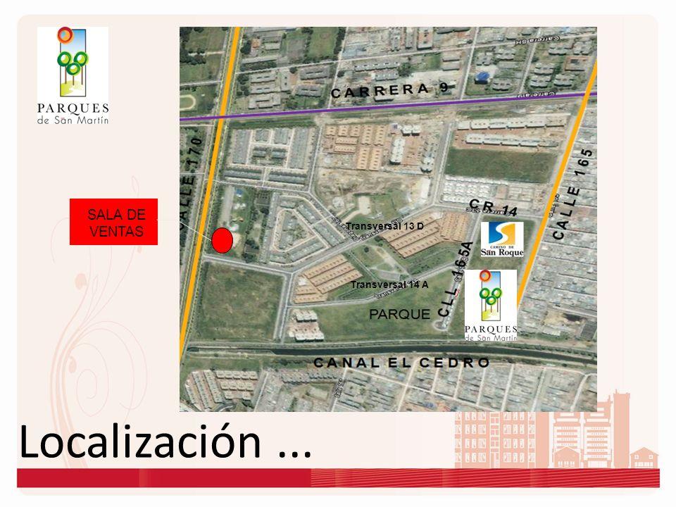 Localización... SALA DE VENTAS Transversal 14 A Transversal 13 D