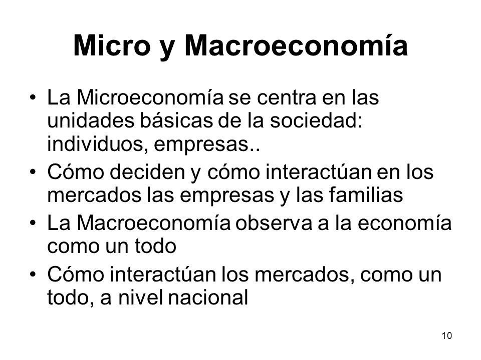 10 Micro y Macroeconomía La Microeconomía se centra en las unidades básicas de la sociedad: individuos, empresas.. Cómo deciden y cómo interactúan en