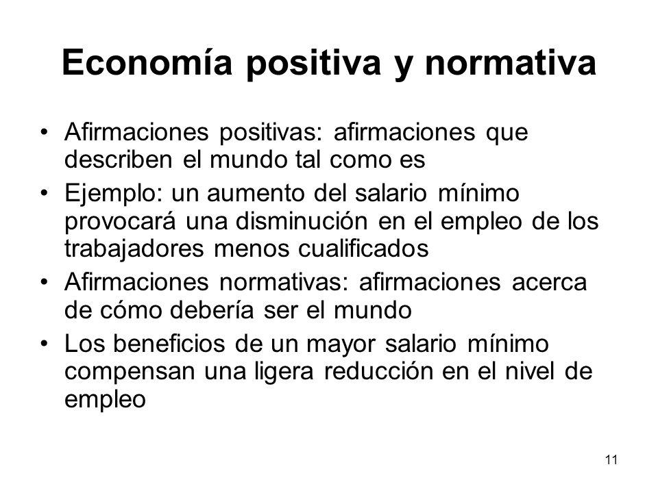 11 Economía positiva y normativa Afirmaciones positivas: afirmaciones que describen el mundo tal como es Ejemplo: un aumento del salario mínimo provoc