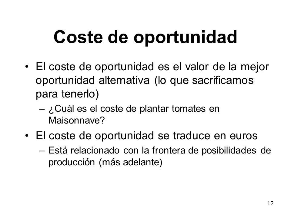 12 Coste de oportunidad El coste de oportunidad es el valor de la mejor oportunidad alternativa (lo que sacrificamos para tenerlo) –¿Cuál es el coste