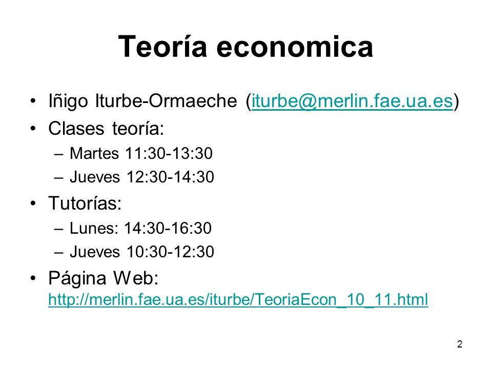 2 Teoría economica Iñigo Iturbe-Ormaeche (iturbe@merlin.fae.ua.es)iturbe@merlin.fae.ua.es Clases teoría: –Martes 11:30-13:30 –Jueves 12:30-14:30 Tutor