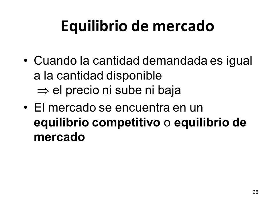 28 Equilibrio de mercado Cuando la cantidad demandada es igual a la cantidad disponible el precio ni sube ni baja El mercado se encuentra en un equili