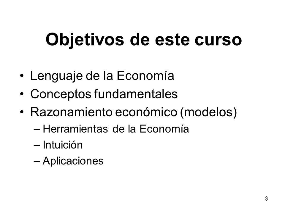 3 Objetivos de este curso Lenguaje de la Economía Conceptos fundamentales Razonamiento económico (modelos) –Herramientas de la Economía –Intuición –Ap