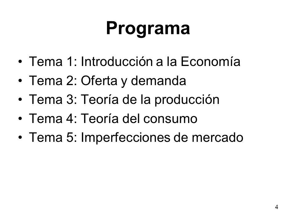 4 Programa Tema 1: Introducción a la Economía Tema 2: Oferta y demanda Tema 3: Teoría de la producción Tema 4: Teoría del consumo Tema 5: Imperfeccion