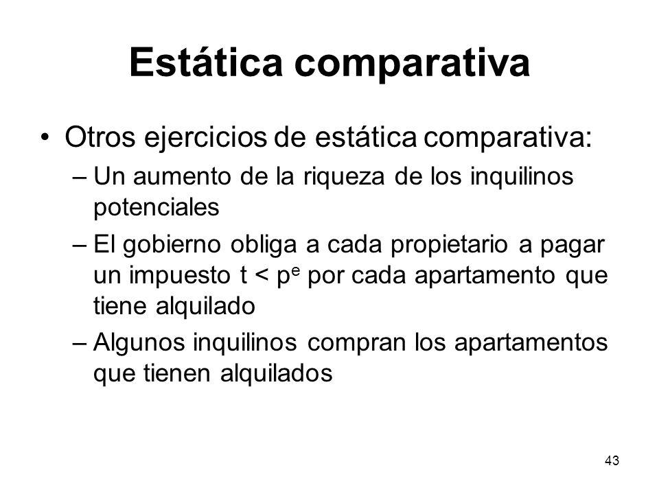 43 Estática comparativa Otros ejercicios de estática comparativa: –Un aumento de la riqueza de los inquilinos potenciales –El gobierno obliga a cada p