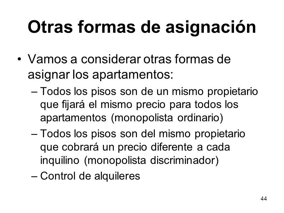 44 Otras formas de asignación Vamos a considerar otras formas de asignar los apartamentos: –Todos los pisos son de un mismo propietario que fijará el