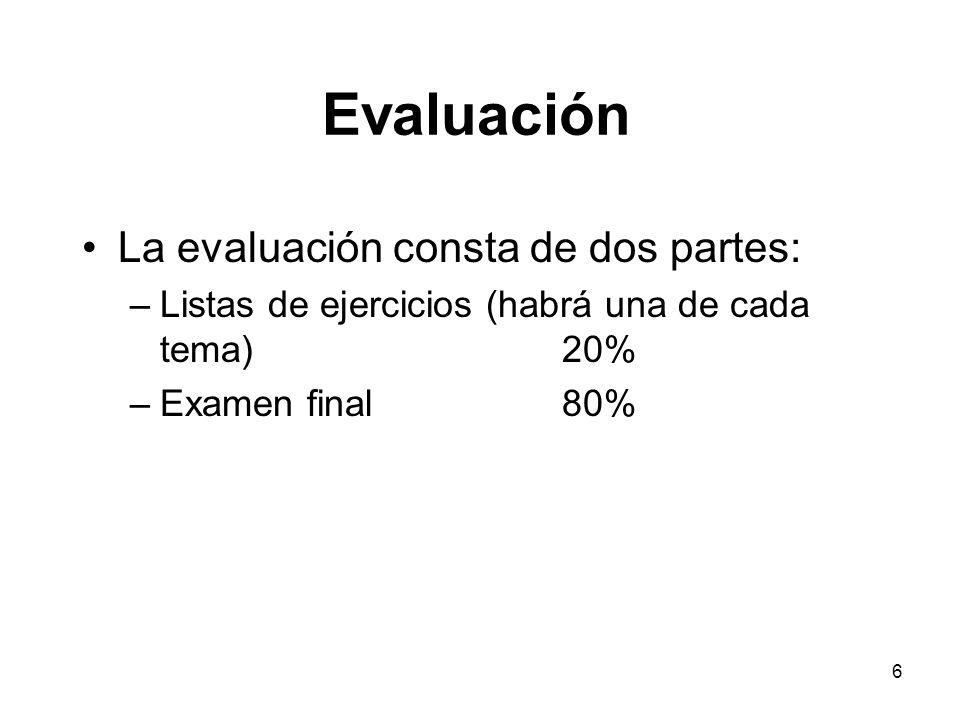 6 Evaluación La evaluación consta de dos partes: –Listas de ejercicios (habrá una de cada tema)20% –Examen final80%