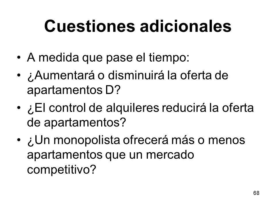 68 Cuestiones adicionales A medida que pase el tiempo: ¿Aumentará o disminuirá la oferta de apartamentos D? ¿El control de alquileres reducirá la ofer