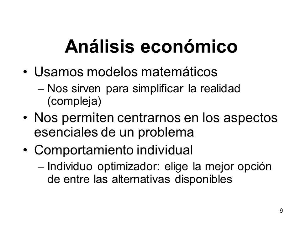 9 Análisis económico Usamos modelos matemáticos –Nos sirven para simplificar la realidad (compleja) Nos permiten centrarnos en los aspectos esenciales