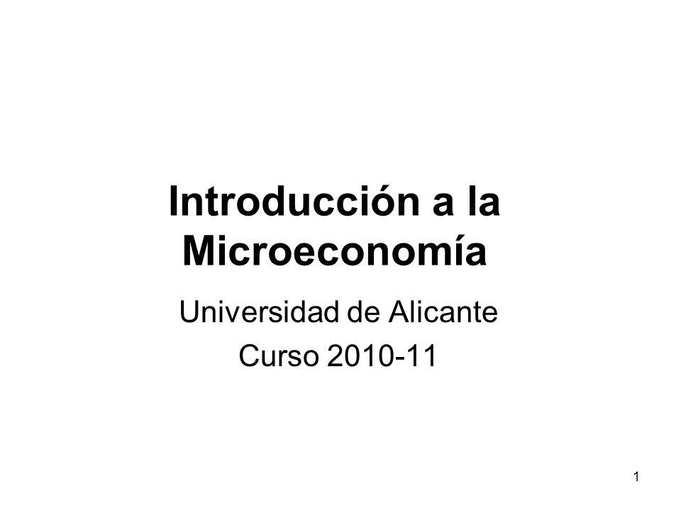 2 Introducción a la Microeconomía Iñigo Iturbe-Ormaeche (iturbe@merlin.fae.ua.es)iturbe@merlin.fae.ua.es Clases teoría (semanas 2-13): –Martes 10:00-11:30 –Miércoles 8:30-10:00 Tutorías: –Lunes: 14:30-16:30 –Jueves 10:30-12:30 Página Web: http://merlin.fae.ua.es/iturbe/IntrodMicro_10_11.html http://merlin.fae.ua.es/iturbe/IntrodMicro_10_11.html