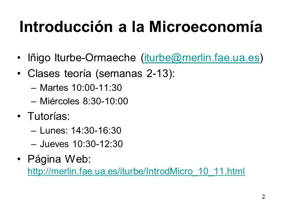 3 Objetivos de este curso Lenguaje de la Economía Conceptos fundamentales Razonamiento económico (modelos) Primera parte de un curso introductorio de Microeconomía