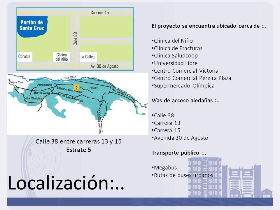 Localización:.. El proyecto se encuentra ubicado cerca de :.. Clínica del Niño Clínica de Fracturas Clínica Saludcoop Universidad Libre Centro Comerci