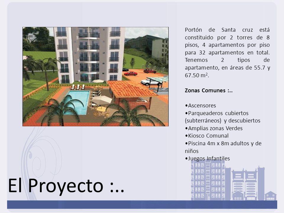 El Proyecto :.. Portón de Santa cruz está constituido por 2 torres de 8 pisos, 4 apartamentos por piso para 32 apartamentos en total. Tenemos 2 tipos