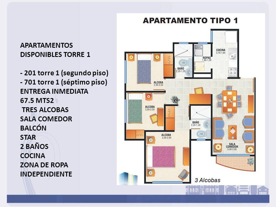 APARTAMENTOS DISPONIBLES TORRE 1 - 201 torre 1 (segundo piso) - 701 torre 1 (séptimo piso) ENTREGA INMEDIATA 67.5 MTS2 TRES ALCOBAS SALA COMEDOR BALCÓ