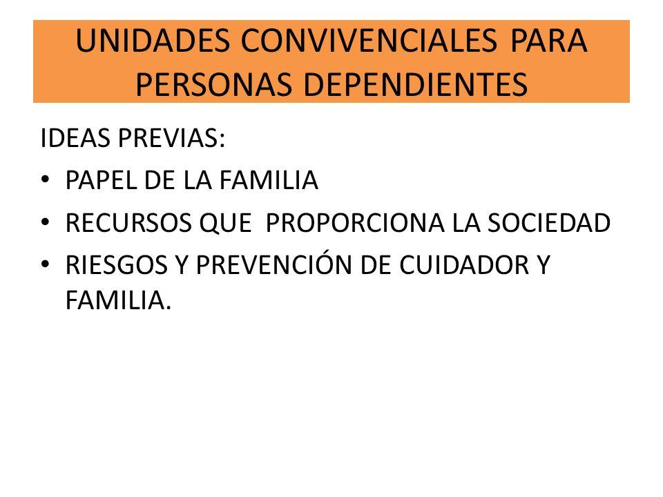 UNIDADES CONVIVENCIALES PARA PERSONAS DEPENDIENTES IDEAS PREVIAS: PAPEL DE LA FAMILIA RECURSOS QUE PROPORCIONA LA SOCIEDAD RIESGOS Y PREVENCIÓN DE CUI