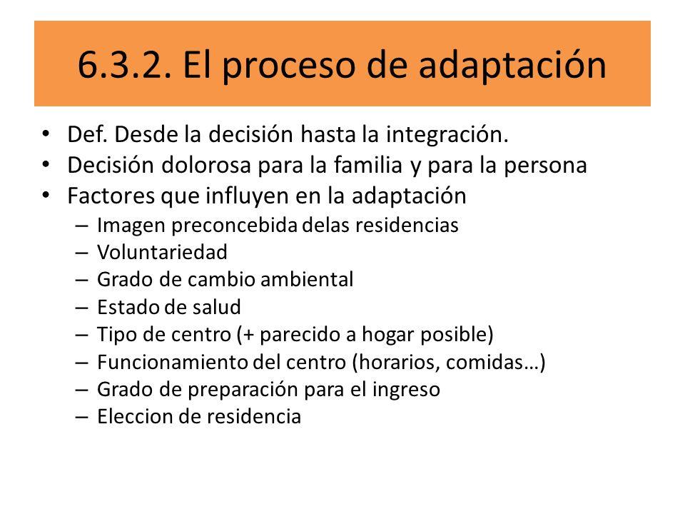 6.3.2. El proceso de adaptación Def. Desde la decisión hasta la integración. Decisión dolorosa para la familia y para la persona Factores que influyen