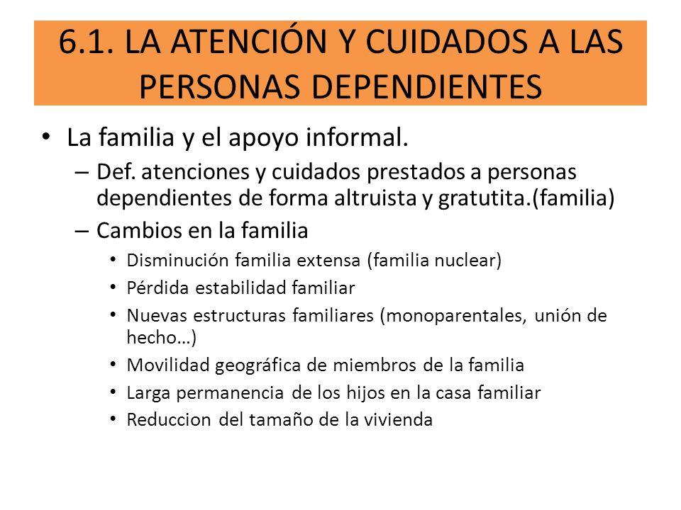 6.1. LA ATENCIÓN Y CUIDADOS A LAS PERSONAS DEPENDIENTES La familia y el apoyo informal. – Def. atenciones y cuidados prestados a personas dependientes