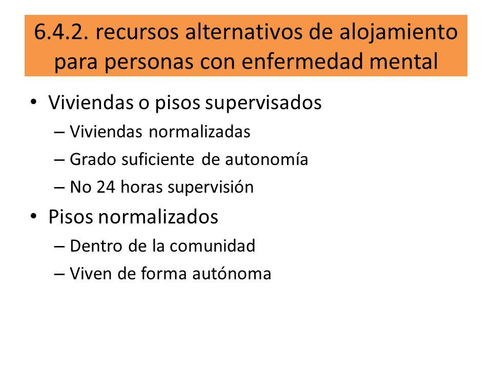 6.4.2. recursos alternativos de alojamiento para personas con enfermedad mental Viviendas o pisos supervisados – Viviendas normalizadas – Grado sufici