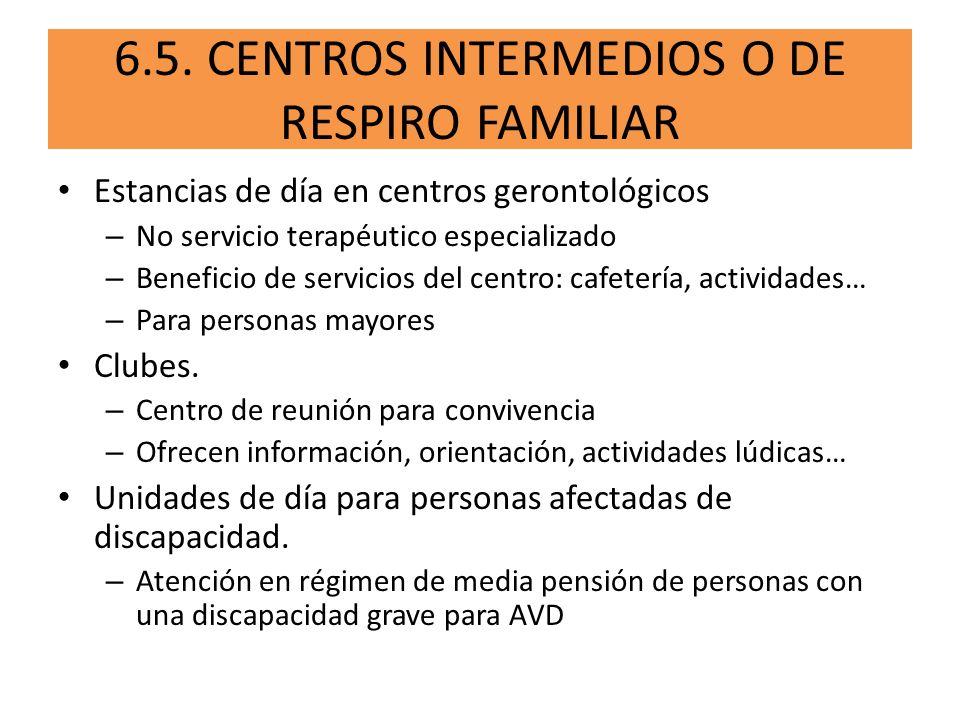 Estancias de día en centros gerontológicos – No servicio terapéutico especializado – Beneficio de servicios del centro: cafetería, actividades… – Para