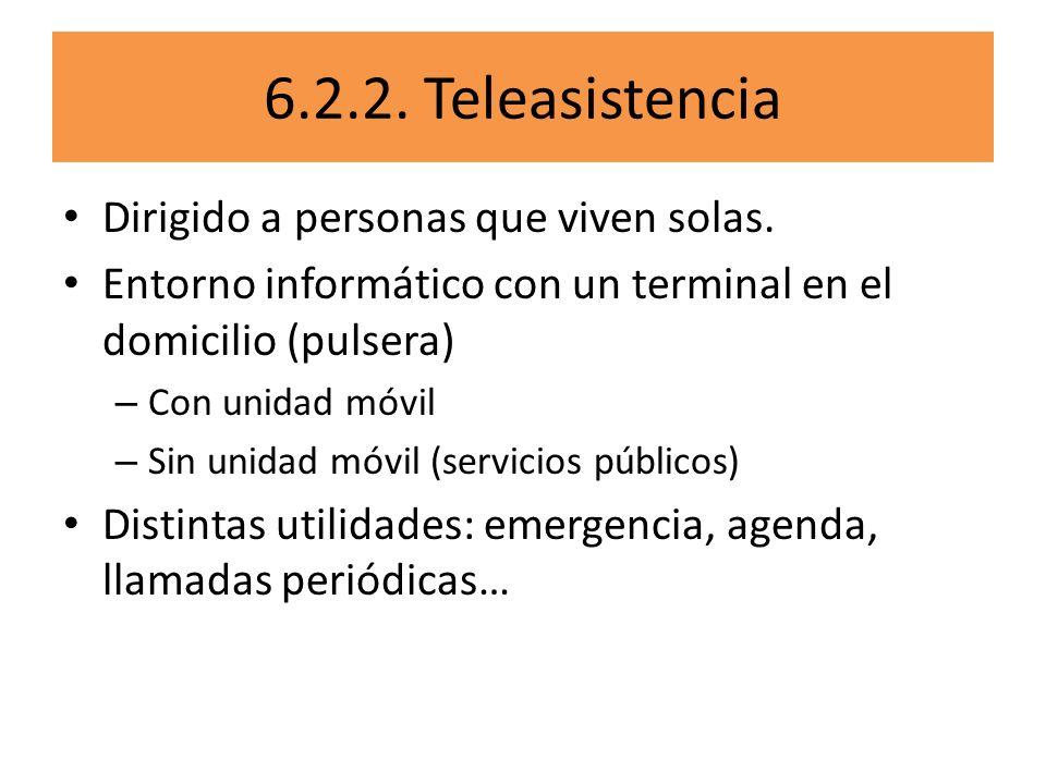6.2.2. Teleasistencia Dirigido a personas que viven solas. Entorno informático con un terminal en el domicilio (pulsera) – Con unidad móvil – Sin unid