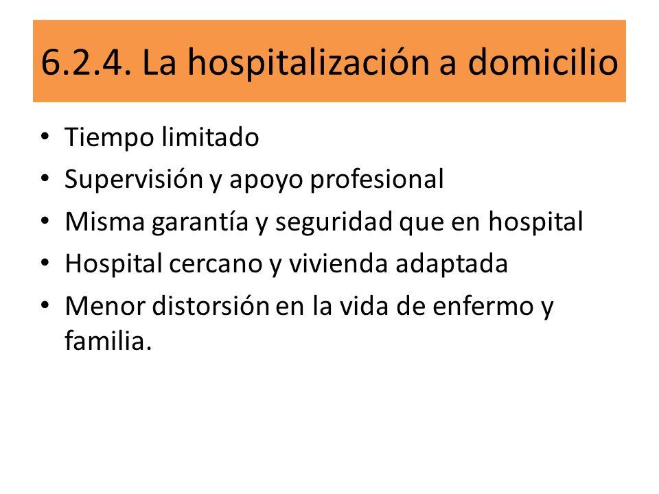 6.2.4. La hospitalización a domicilio Tiempo limitado Supervisión y apoyo profesional Misma garantía y seguridad que en hospital Hospital cercano y vi