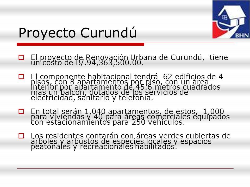 Proyecto Curundú El proyecto de Renovación Urbana de Curundú, tiene un costo de B/.94,363,500.00. El componente habitacional tendrá 62 edificios de 4