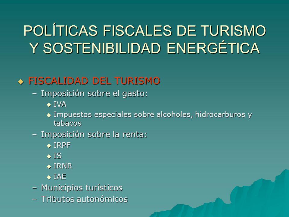 POLÍTICAS FISCALES DE TURISMO Y SOSTENIBILIDAD ENERGÉTICA FISCALIDAD DEL TURISMO FISCALIDAD DEL TURISMO –Imposición sobre el gasto: IVA Impuestos espe