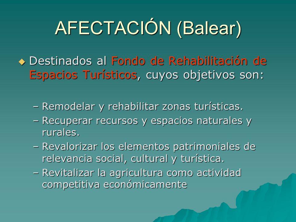 AFECTACIÓN (Balear) Destinados al Fondo de Rehabilitación de Espacios Turísticos, cuyos objetivos son: Destinados al Fondo de Rehabilitación de Espacios Turísticos, cuyos objetivos son: –Remodelar y rehabilitar zonas turísticas.