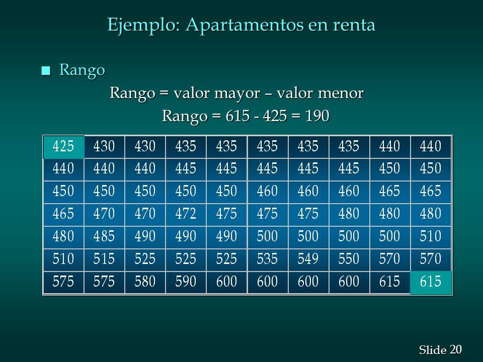 20 Slide Ejemplo: Apartamentos en renta n Rango Rango = valor mayor – valor menor Rango = valor mayor – valor menor Rango = 615 - 425 = 190 Rango = 61