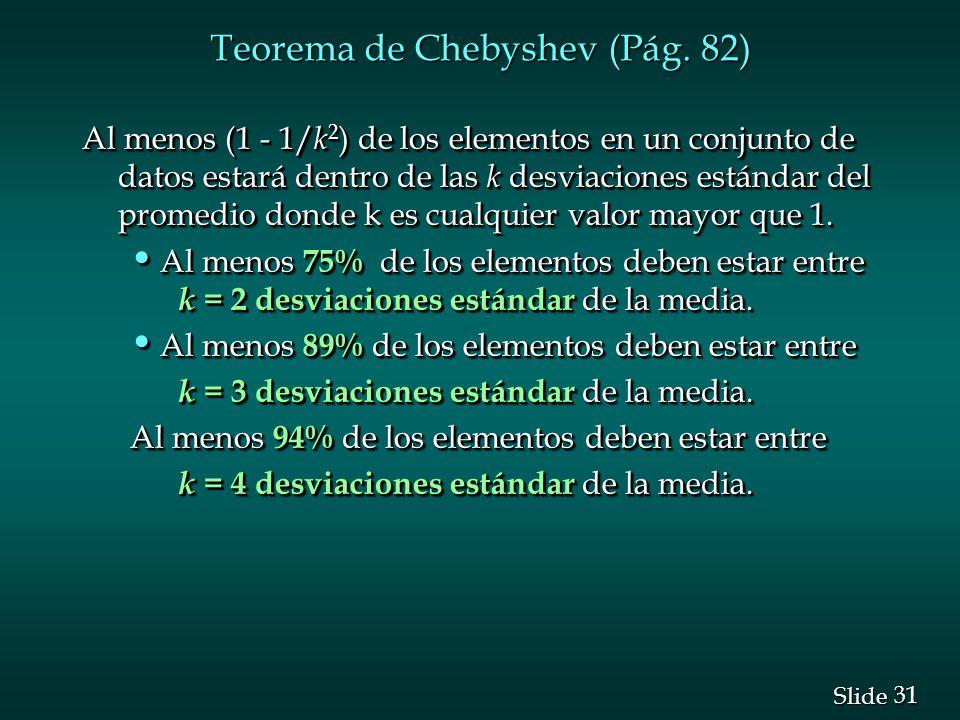 31 Slide Teorema de Chebyshev (Pág. 82) Al menos (1 - 1/ k 2 ) de los elementos en un conjunto de datos estará dentro de las k desviaciones estándar d