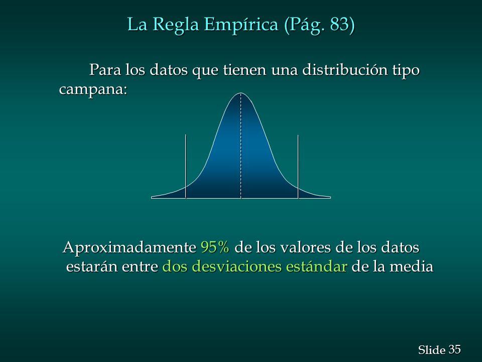 35 Slide La Regla Empírica (Pág. 83) Para los datos que tienen una distribución tipo campana: Aproximadamente 95% de los valores de los datos estarán
