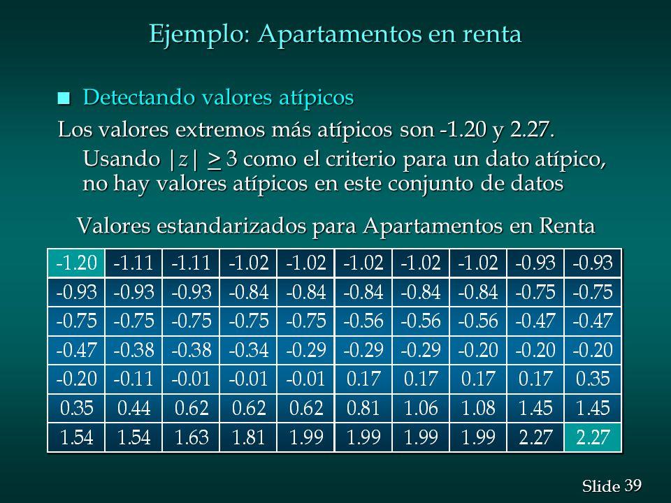 39 Slide Ejemplo: Apartamentos en renta n Detectando valores atípicos Los valores extremos más atípicos son -1.20 y 2.27. Usando | z | > 3 como el cri