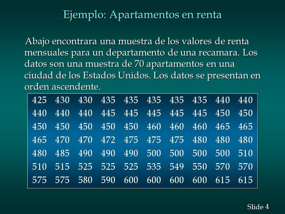 4 4 Slide Ejemplo: Apartamentos en renta Abajo encontrara una muestra de los valores de renta mensuales para un departamento de una recamara. Los dato