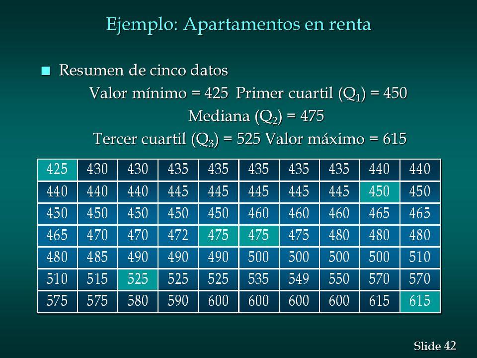 42 Slide Ejemplo: Apartamentos en renta n Resumen de cinco datos Valor mínimo = 425 Primer cuartil (Q 1 ) = 450 Mediana (Q 2 ) = 475 Mediana (Q 2 ) =