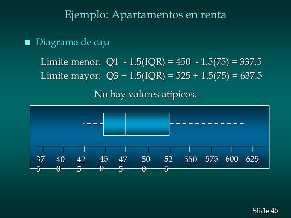45 Slide Ejemplo: Apartamentos en renta n Diagrama de caja Limite menor: Q1 - 1.5(IQR) = 450 - 1.5(75) = 337.5 Limite menor: Q1 - 1.5(IQR) = 450 - 1.5