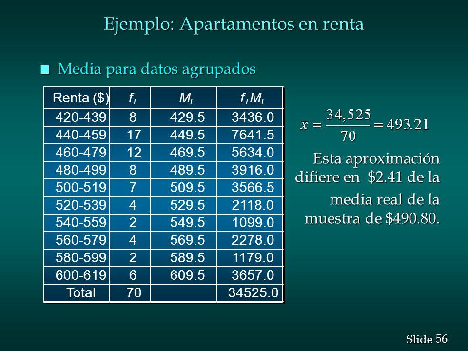 56 Slide Ejemplo: Apartamentos en renta n Media para datos agrupados Esta aproximación difiere en $2.41 de la Esta aproximación difiere en $2.41 de la