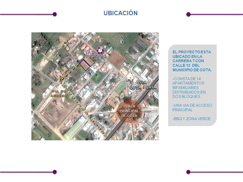 UBICACIÓN EL PROYECTO ESTA UBICADO EN LA CARRERA 7 CON CALLE 12 DEL MUNICIPIO DE COTA.