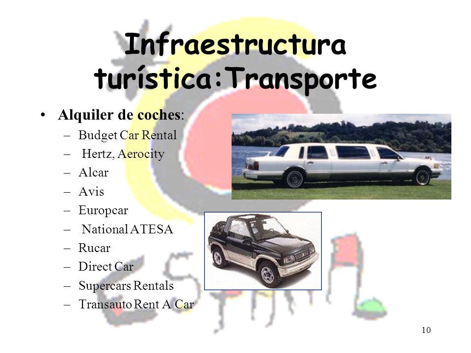 10 Infraestructura turística:Transporte Alquiler de coches: –Budget Car Rental – Hertz, Aerocity –Alcar –Avis –Europcar – National ATESA –Rucar –Direc