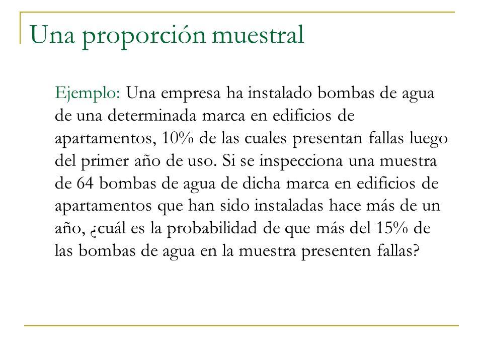 Una proporción muestral Ejemplo: Una empresa ha instalado bombas de agua de una determinada marca en edificios de apartamentos, 10% de las cuales pres
