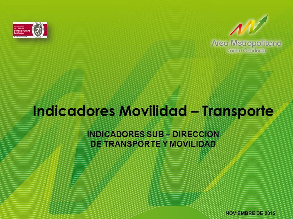 Indicadores Movilidad – Transporte INDICADORES SUB – DIRECCION DE TRANSPORTE Y MOVILIDAD NOVIEMBRE DE 2012